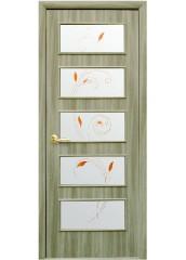Межкомнатная дверь Квадра Ева со стеклом сатин и рисунком Сандал