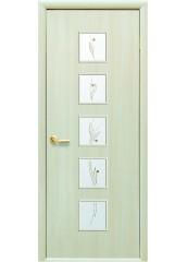 Межкомнатная дверь Квадра Фора со стеклом сатин и рисунком Дуб Жемчужный
