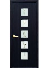 Межкомнатная дверь Квадра Фора со стеклом сатин и рисунком венге 3D
