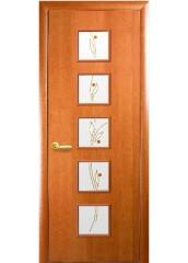 Межкомнатная дверь Квадра Фора со стеклом сатин и рисунком Ольха