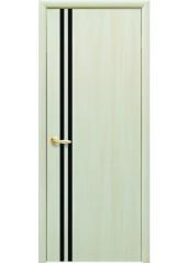 Межкомнатная дверь Квадра Вита с черным стеклом Дуб жемчужный
