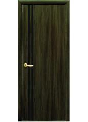 Межкомнатная дверь Квадра Вита с черным стеклом Кедр