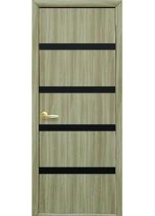 Межкомнатная дверь Квадра Нота с черным стеклом Сандал