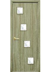 Межкомнатная дверь Квадра Ронда со стеклом сатин и рисунком Сандал
