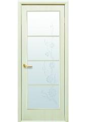 Межкомнатная дверь Квадра Виктория со стеклом сатин и рисунком Дуб жемчужный