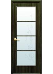 Межкомнатная дверь Квадра Виктория со стеклом сатин и рисунком Кедр