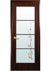 Межкомнатная дверь Квадра Виктория со стеклом сатин и рисунком Орех2