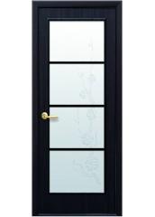 Межкомнатная дверь Квадра Виктория со стеклом сатин и рисунком венге DeWild