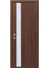 Межкомнатная дверь Квадра Злата De Luxe со стеклом сатин и рисунком Орех