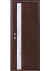Межкомнатная дверь Квадра Злата De Luxe со стеклом сатин и рисунком венге DeWild