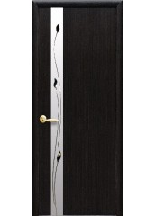 Межкомнатная дверь Квадра Злата De Luxe со стеклом сатин и рисунком венге 3D new