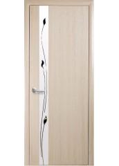 Межкомнатная дверь Квадра Злата De Luxe со стеклом сатин и рисунком Ясень