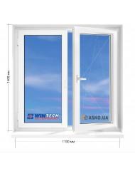 Окно WINTECH в 5-этажку Хрущевка. МП(ПВХ) 1100мм х 1400мм