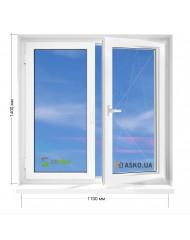 Окно STEKO в 5-этажку Хрущевка. МП(ПВХ) 1100мм х 1400мм