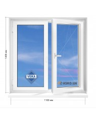 Окно VEKA в 5-этажку Хрущевка. МП(ПВХ) 1100мм х 1400мм