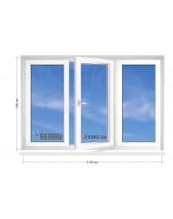 Окно REHAU в 9-ти, 12-ти  этажка Улучшенка. МП (ПВХ) 2100мм х 1450мм