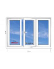 Окно Aluplast в 9-ти, 12-ти  этажка Улучшенка. МП (ПВХ) 2100мм х 1450мм