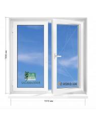 Окно SALAMANDER в 9-ти, 12и этажка Чешка. МП (ПВХ) 1510мм х 1550мм