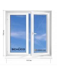 Окно SCHUCO в 9-ти, 12и этажка Чешка. МП (ПВХ) 1510мм х 1550мм