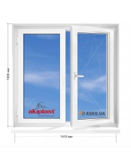 Окно Aluplast в 9-ти, 12и этажка Чешка. МП (ПВХ) 1510мм х 1550мм
