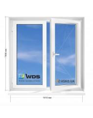 Окно WDS в 9-ти, 12и этажка Чешка. МП (ПВХ) 1510мм х 1550мм
