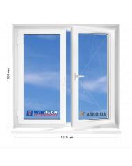Окно WINTECH в 9-ти, 12и этажка Чешка. МП (ПВХ) 1510мм х 1550мм