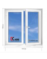 Окно KBE в 9-ти, 12и этажка Чешка. МП (ПВХ) 1510мм х 1550мм