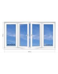 Окно SCHUCO в 9-ти, 12-ти-этажка Полька.  Балконная рама. Прямой балкон 3000мм Х 1400м