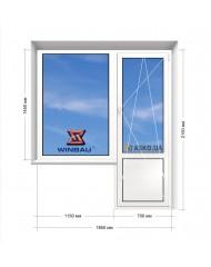 Окно WINBAU в 9-ти, 12-ти-этажка Полька. Балконный блок 1850мм х 2150мм