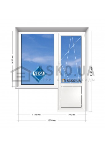 Окно VEKA в 9-ти, 12-ти-этажка Полька. Балконный блок 1850мм х 2150мм в Харькове фото