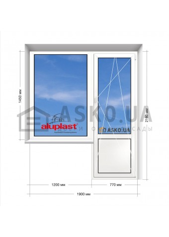 Окно Aluplast в 16-ти этажку. Балконный блок 1900мм х 2160мм в Харькове фото