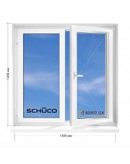 Окно SCHUCO в 5-этажку Хрущевка. МП(ПВХ) 1300мм х 1400мм