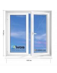 Окно WDS в 5-этажку Хрущевка. МП(ПВХ) 1300мм х 1400мм