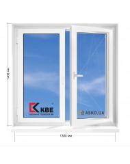Окно KBE в 5-этажку Хрущевка. МП(ПВХ) 1300мм х 1400мм