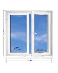 Окно WHS в 5-этажку Хрущевка. МП(ПВХ) 1300мм х 1400мм