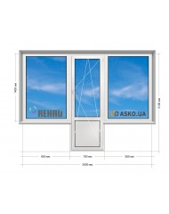 Окно REHAU в Хрущевку 5-этажка. Балконный Блок «чебурашка» 2000мм х 2100мм