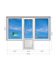 Окно SALAMANDER в Хрущевку 5-этажка. Балконный Блок «чебурашка» 2000мм х 2100мм