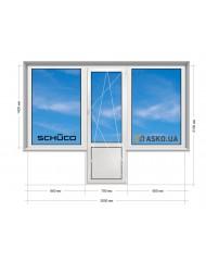 Окно SCHUCO в Хрущевку 5-этажка. Балконный Блок «чебурашка» 2000мм х 2100мм