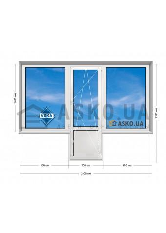 Окно VEKA в Хрущевку 5-этажка. Балконный Блок «чебурашка» 2000мм х 2100мм в Харькове фото