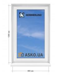 Окно KÖMMERLING в  частный дом. МП(ПВХ) глухое 800мм х1300мм