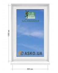 Окно SALAMANDER в  частный дом. МП(ПВХ) глухое 800мм х1300мм