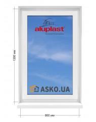 Окно Aluplast в  частный дом. МП(ПВХ) глухое 800мм х1300мм