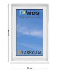 Окно WDS в  частный дом. МП(ПВХ) глухое 800мм х1300мм