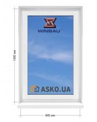 Окно WINBAU в  частный дом. МП(ПВХ) глухое 800мм х1300мм