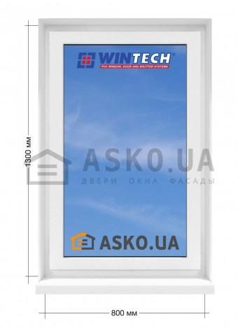 Окно WINTECH в  частный дом. МП(ПВХ) глухое 800мм х1300мм в Харькове фото