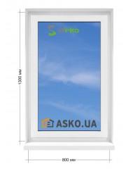 Окно STEKO в  частный дом. МП(ПВХ) глухое 800мм х1300мм