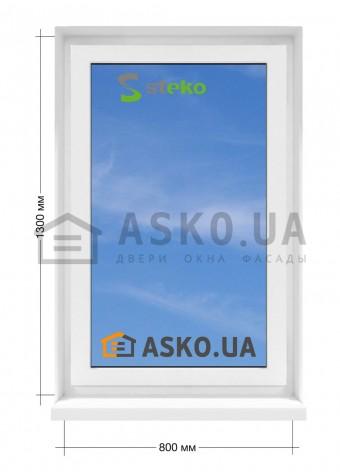 Окно STEKO в  частный дом. МП(ПВХ) глухое 800мм х1300мм в Харькове фото