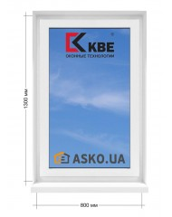 Окно KBE в  частный дом. МП(ПВХ) глухое 800мм х1300мм