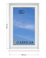 Окно WHS в  частный дом. МП(ПВХ) глухое 800мм х1300мм