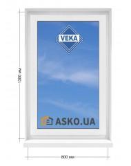 Окно VEKA в  частный дом. МП(ПВХ) глухое 800мм х1300мм